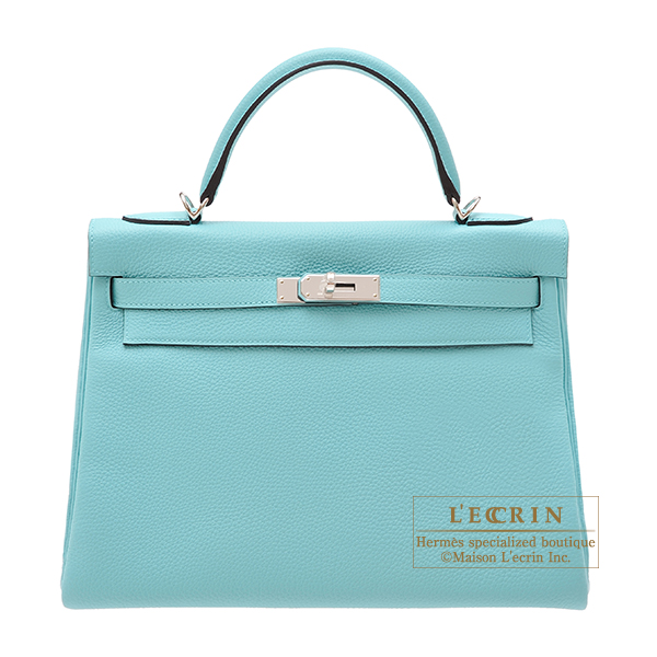Hermes Kelly bag 32 Retourne Blue atoll Clemence leather Silver hardware