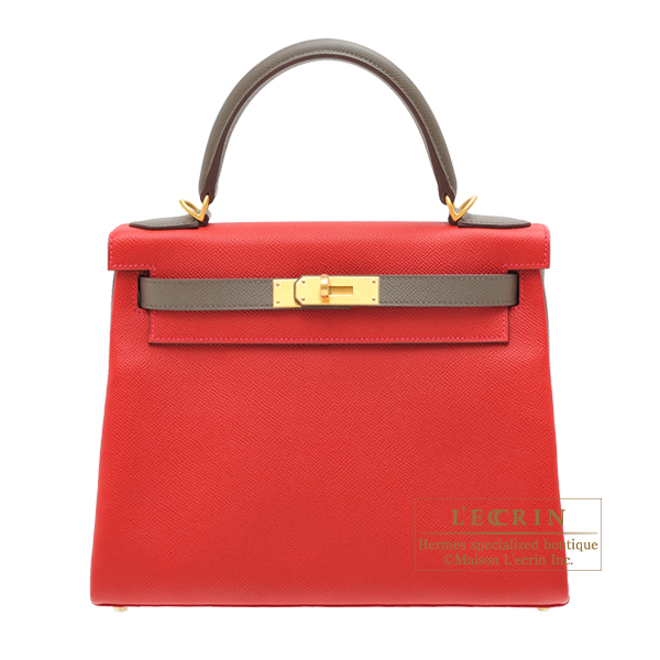 Hermes Personal Kelly bag 28 Retourne Rouge casaque/ Etain Epsom leather Matt gold hardware