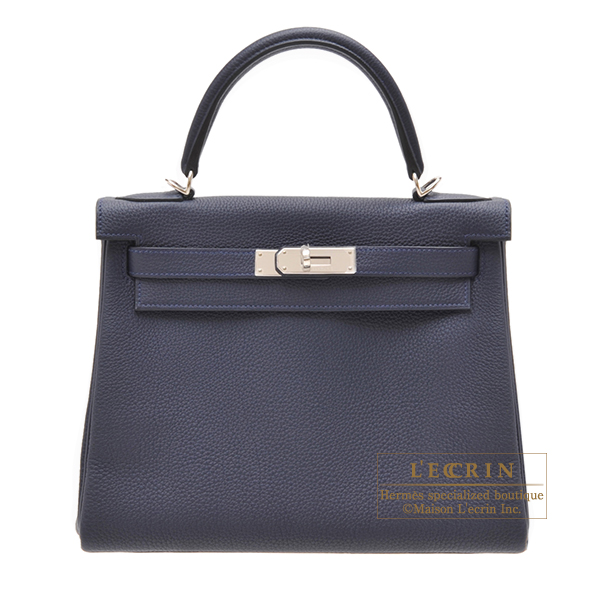 Hermes Kelly bag 28 Retourne Blue nuit Togo leather Silver hardware