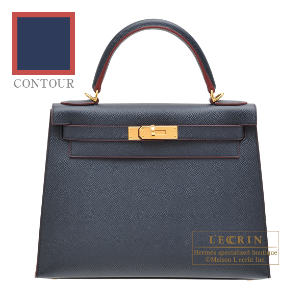 Hermes Kelly Contour bag 28 Sellier Blue indigo/ Rouge H Epsom leather Gold hardware