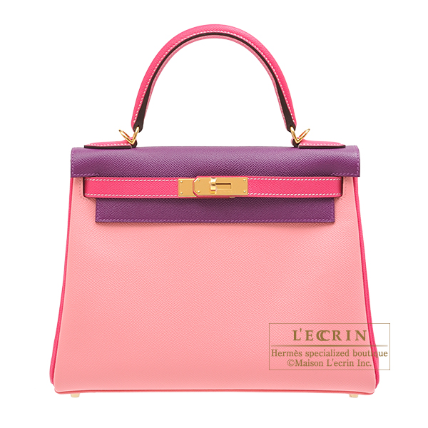 Hermes Personal Kelly bag 28 Retourne Rose confetti/ Anemone/ Rose tyrien Epsom leather Gold hardware