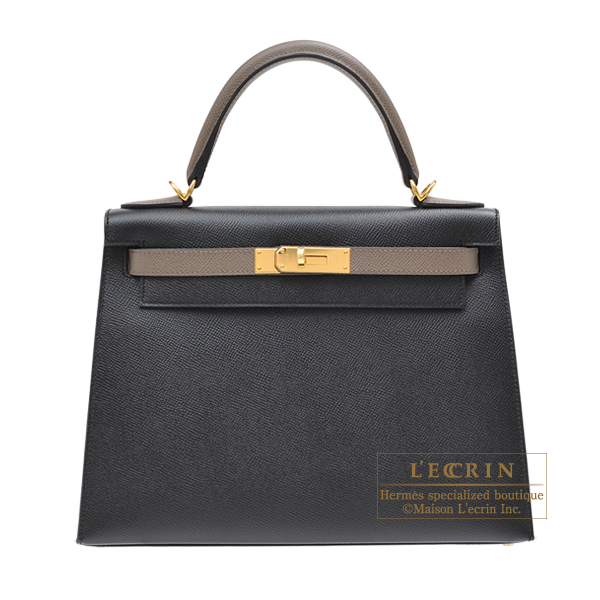 Hermes Personal Kelly bag 28 Sellier Black/Etain Epsom leather Gold hardware