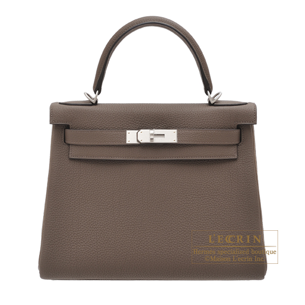 Hermes Personal Kelly bag 28 Retourne Taupe grey/ Etoupe grey Togo leather Matt silver hardware