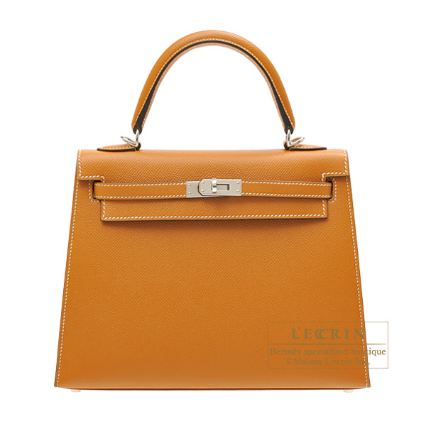 Hermes Kelly bag 25 Sellier Toffee Epsom leather Silver hardware