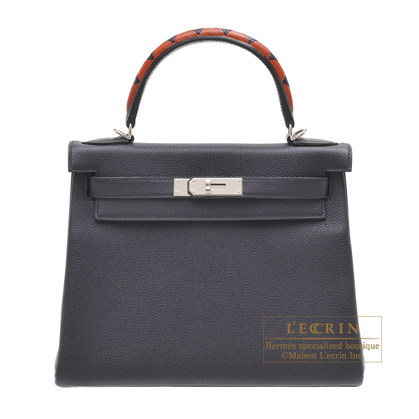 Hermes Kelly Au Galop bag 28 Retourne Blue indigo/ Black/Cuivre Togo leather/ Box calf leather/Chevre myzore goatskin Silver hardware