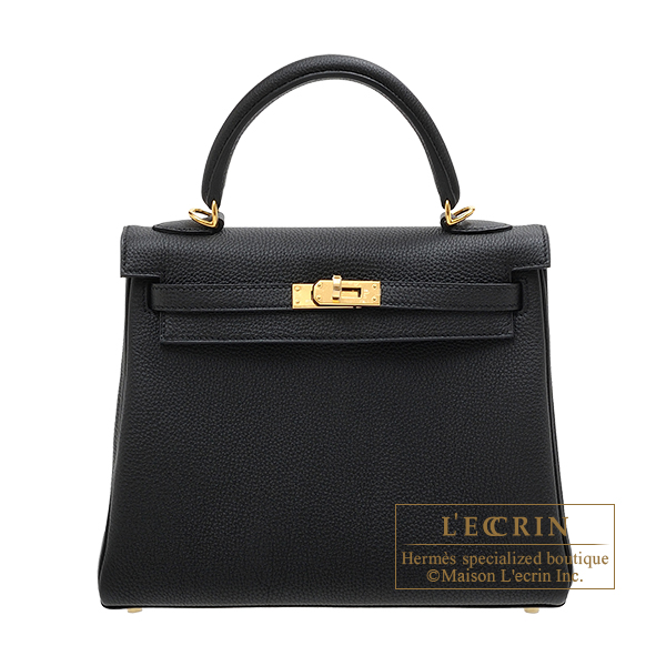 Hermes Kelly bag 25 Retourne Black Togo leather Gold  hardware