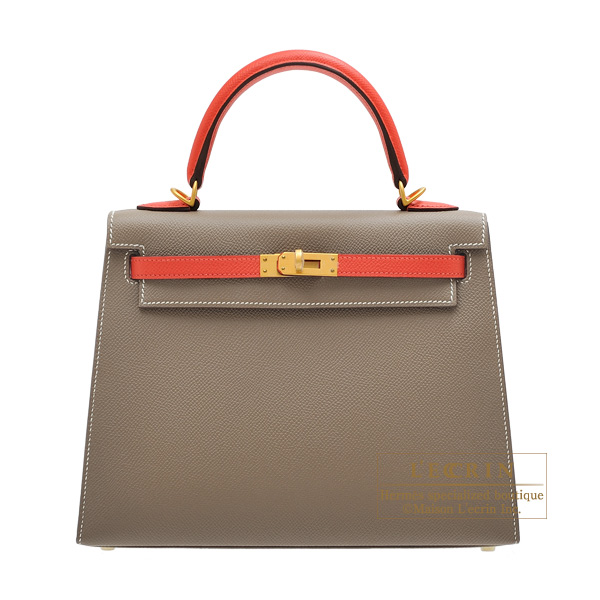 Hermes Personal Kelly bag 25 Sellier Etoupe grey/ Rose jaipur Epsom leather Matt gold hardware