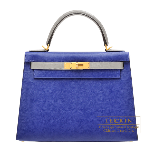 Hermes Personal Kelly bag 28 Sellier Blue electric/ Gris mouette Epsom leather Matt gold hardware