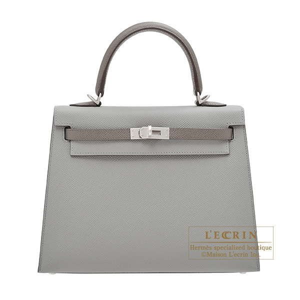 Hermes Personal Kelly bag 25 Sellier Gris mouette/ Etain Epsom leather Matt silver hardware