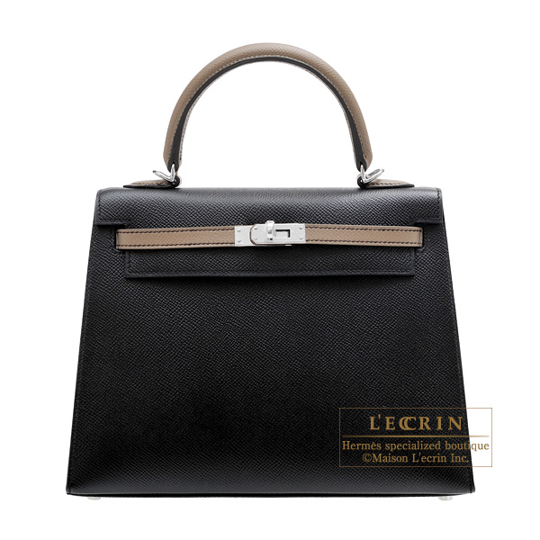 Hermes Personal Kelly bag 25 Sellier Black/Etoupe grey Epsom leather Silver hardware