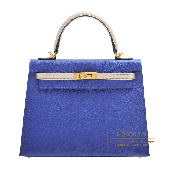 Hermes Personal Kelly bag 25 Sellier Blue electric/ Craie Epsom leather Gold hardware