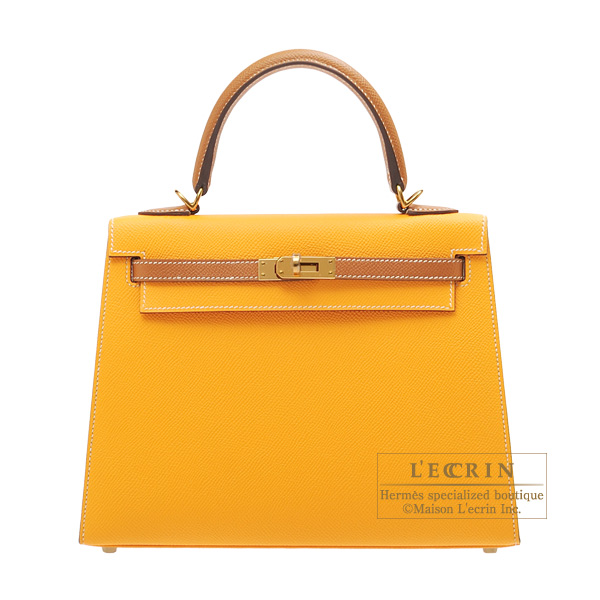 Hermes Personal Kelly bag 25 Sellier Jaune d'or/Gold Epsom leather Gold hardware