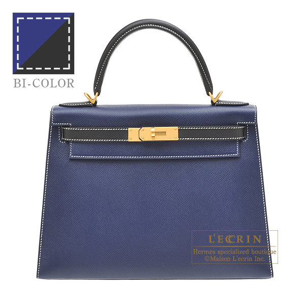 Hermes Personal Kelly bag 28 Sellier Blue saphir/ Black Epsom leather Matt gold hardware