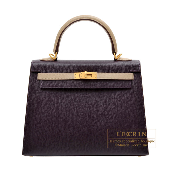 Hermes Personal Kelly bag 25 Sellier Raisin/Trench Epsom leather Matt gold hardware