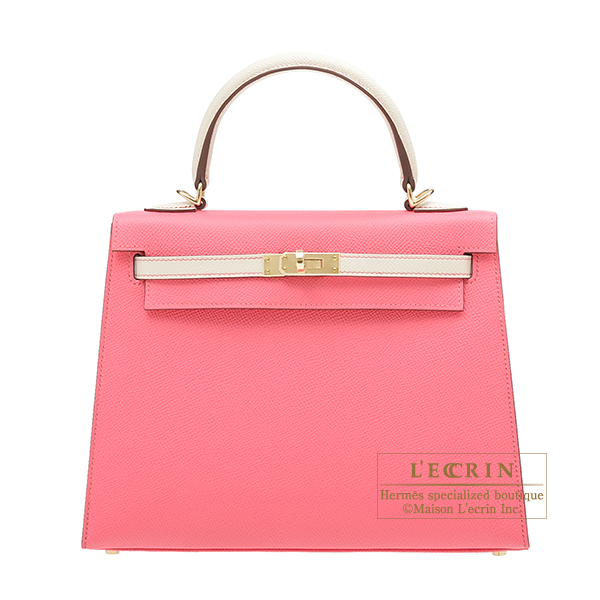 Hermes Personal Kelly bag 25 Sellier Rose azalee/Craie Epsom leather Champagne gold hardware