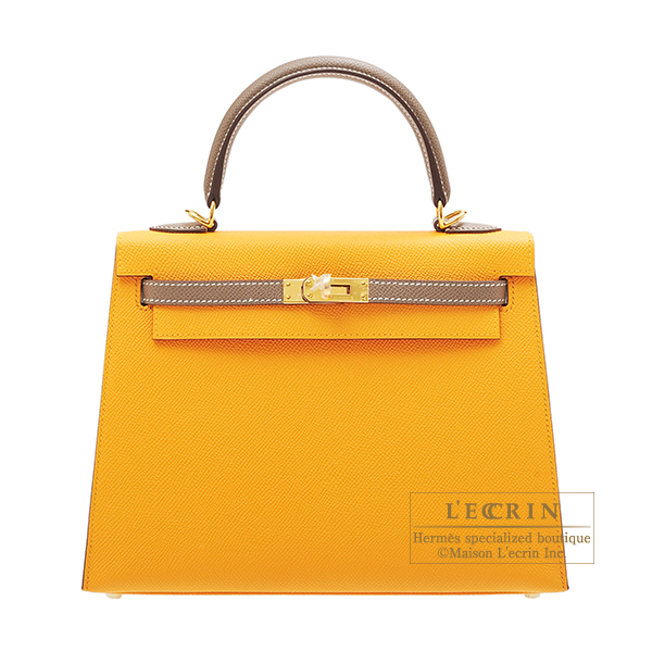 Hermes Personal Kelly bag 25 Sellier Jaune d'or/ Etoupe grey Epsom leather Gold hardware