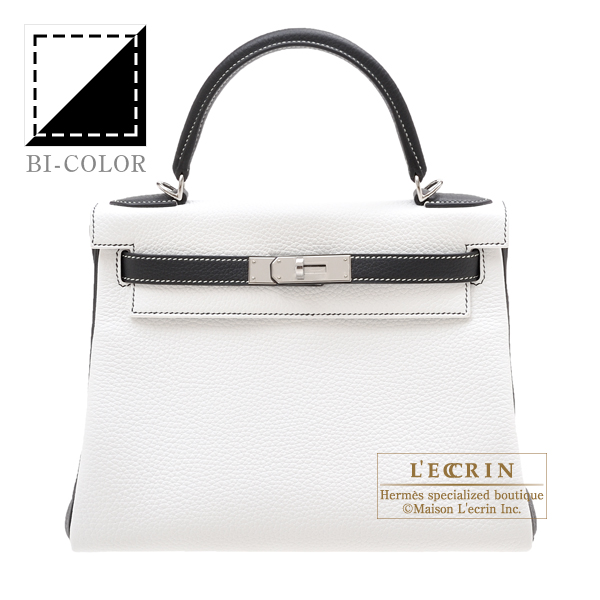 Hermes Personal Kelly bag 28 Retourne White/Black Clemence leather Silver hardware