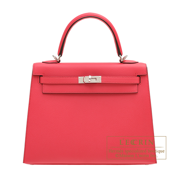 Hermes Kelly bag 25 Sellier Rose extreme Epsom leather Silver hardware