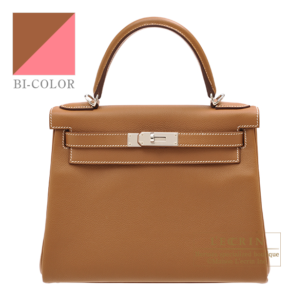Hermes Kelly Verso bag 28 Retourne Gold/ Rose azalee Evercolor leather Silver hardware