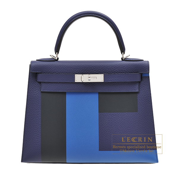 Hermes Kelly Graphie bag 28 Sellier Blue encre/Blue zellige/Black/Vert cypres Clemence leather/Epsom leather/Sombrero leather Silver hardware