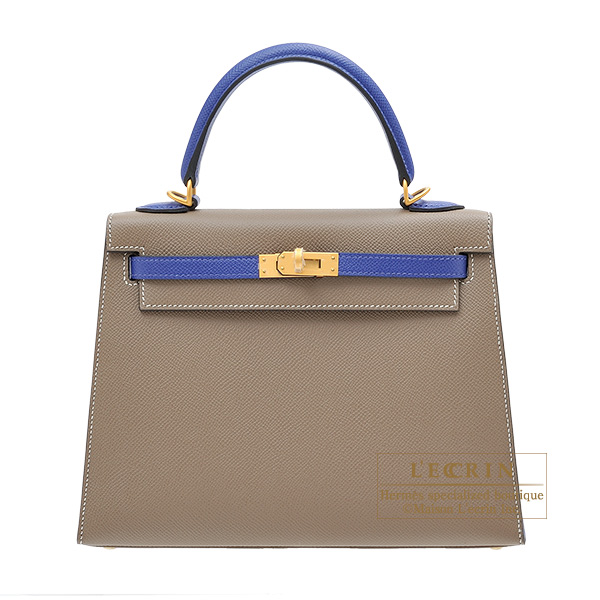 Hermes Personal Kelly bag 25 Sellier Etoupe grey/ Blue electric Epsom leather Matt gold hardware
