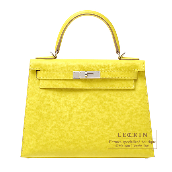 Hermes Kelly bag 28 Sellier Lime Epsom leather Silver hardware