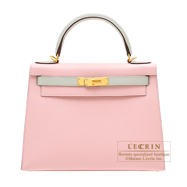 Hermes Personal Kelly bag 28 Sellier Rose sakura/ Pearl grey Chevre myzore goatskin Matt gold hardware