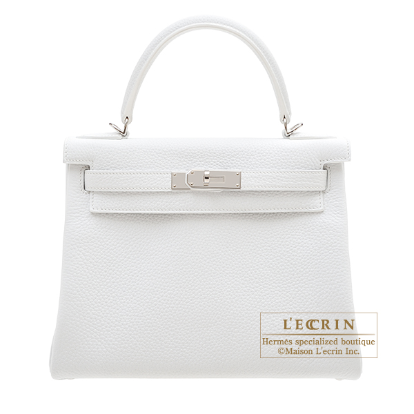 Hermes Personal Kelly bag 28 Retourne White Clemence leather Silver hardware