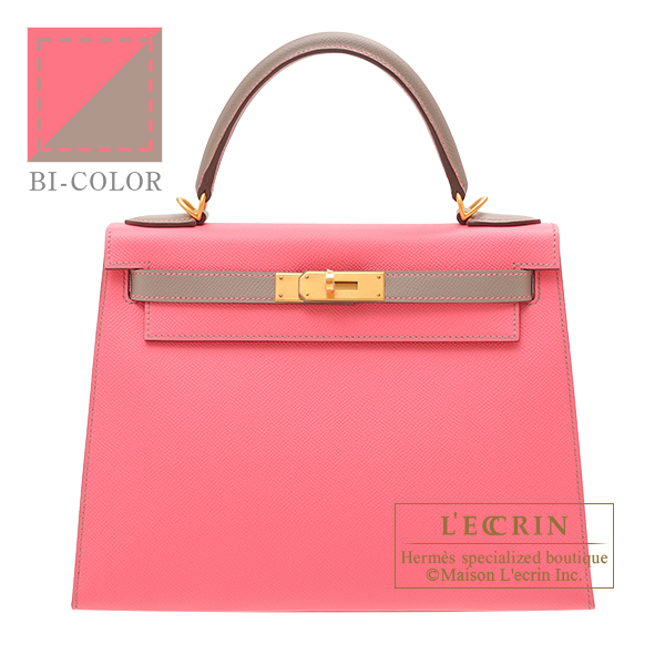 Hermes Personal Kelly bag 28 Sellier Rose azalee/ Gris asphalt Epsom leather Matt gold hardware