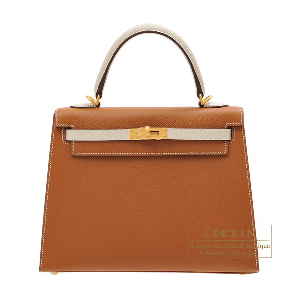 Hermes Personal Kelly bag 25 Sellier Gold/Craie Epsom leather Matt gold hardware