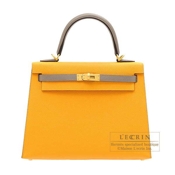 Hermes Personal Kelly bag 25 Sellier Jaune d'or/ Gris asphalt Epsom leather Matt gold hardware