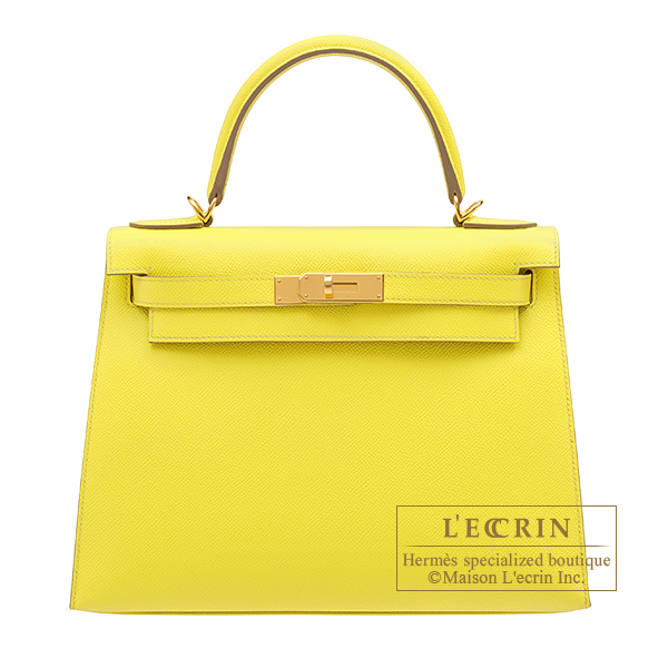 Hermes Kelly bag 28 Sellier Lime Epsom leather Gold hardware