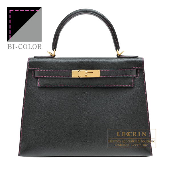 Hermes Personal Kelly bag 28 Sellier Black/Pearl grey Chevre myzore goatskin Gold hardware