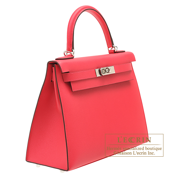 Hermes Kelly bag 28 Sellier Rose extreme Epsom leather Silver hardware