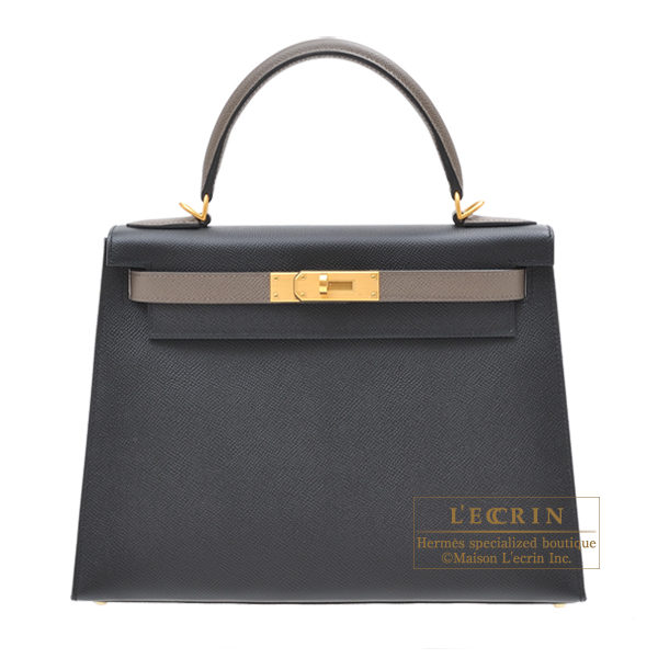 Hermes Personal Kelly bag 28 Sellier Black/Etain Epsom leather Matt gold hardware