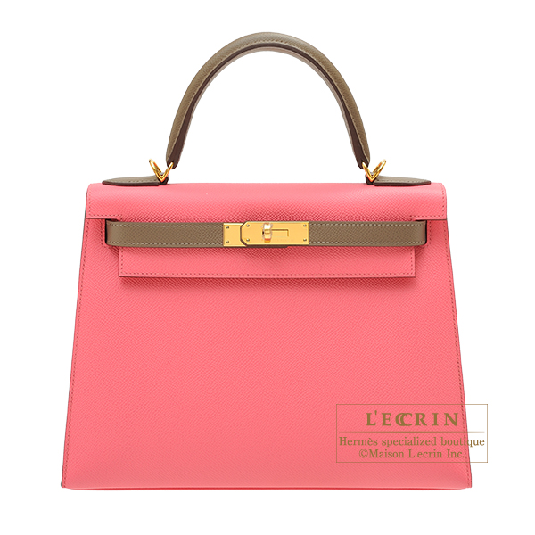 Hermes Personal Kelly bag 28 Sellier Rose azalee/ Etoupe grey Epsom leather Gold hardware