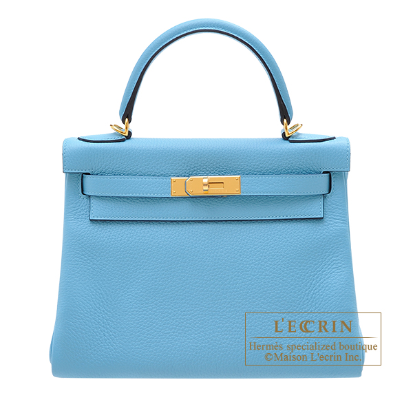 Hermes Kelly bag 28 Retourne Blue du nord Clemence leather Gold hardware