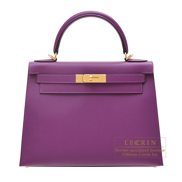 Hermes Kelly bag 28 Sellier Anemone Epsom leather Gold hardware