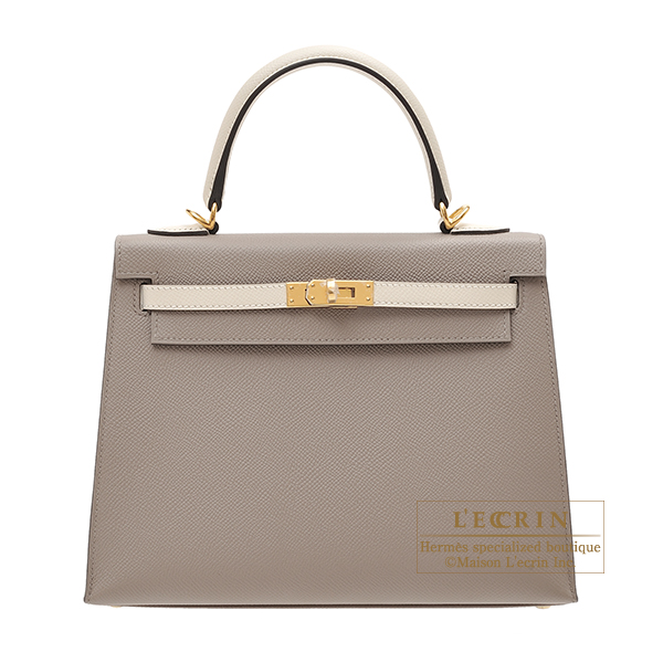 Hermes Personal Kelly bag 25 Sellier Gris asphalt/ Craie Epsom leather Gold hardware