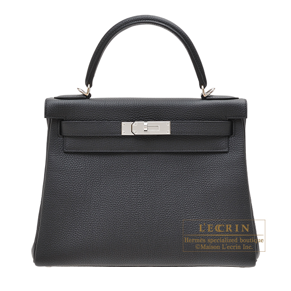 Hermes Personal Kelly bag 28 Retourne Black Togo leather Silver hardware