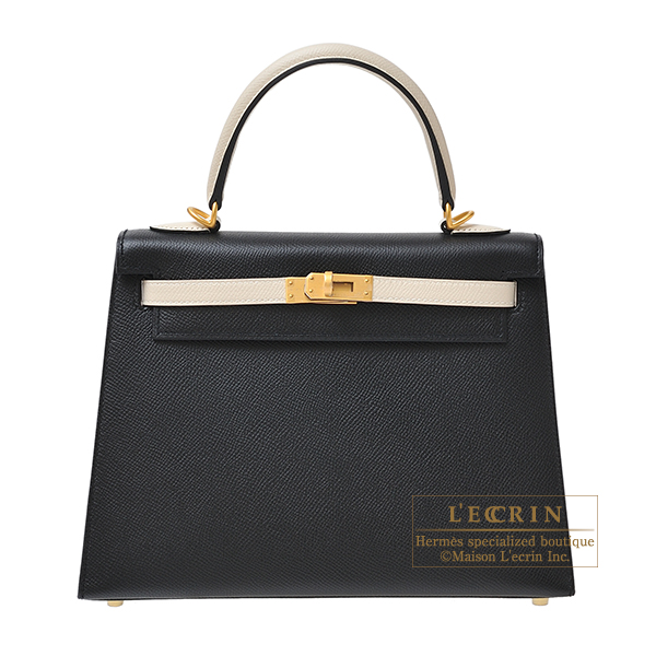 Hermes Personal Kelly bag 25 Sellier Black/Craie Epsom leather Matt gold hardware