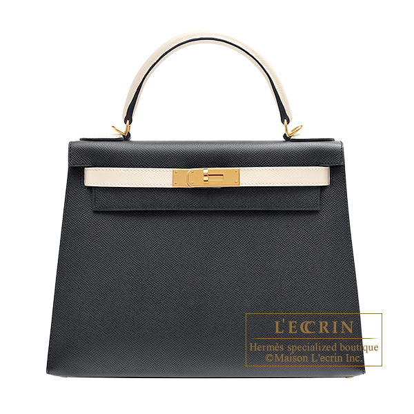 Hermes Personal Kelly bag 28 Sellier Black/ Craie Epsom leather Gold hardware