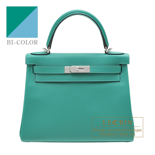Hermes Kelly Verso bag 28 Retourne Vert veronese/ Blue du nord Evercolor leather Silver hardware