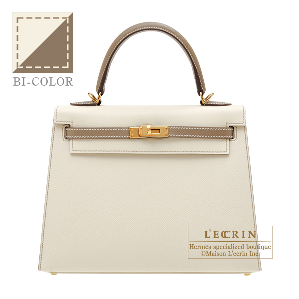 Hermes Personal Kelly bag 25 Sellier Craie/ Etoupe grey Epsom leather Matt gold hardware