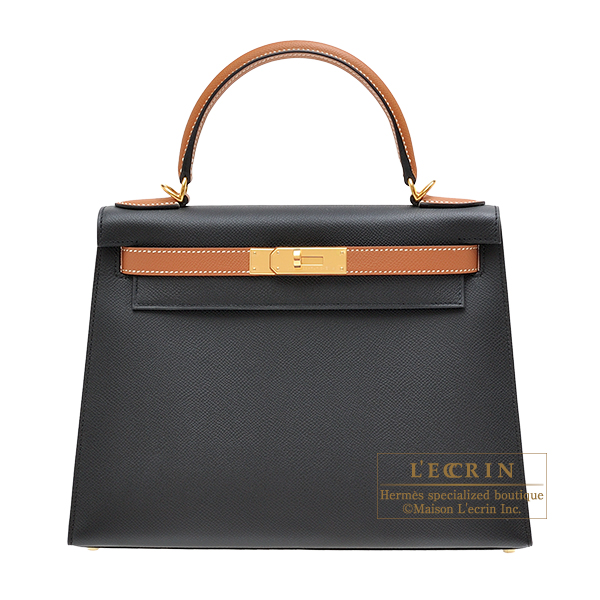 Hermes Personal Kelly bag 28 Sellier Black/ Gold Epsom leather Gold hardware