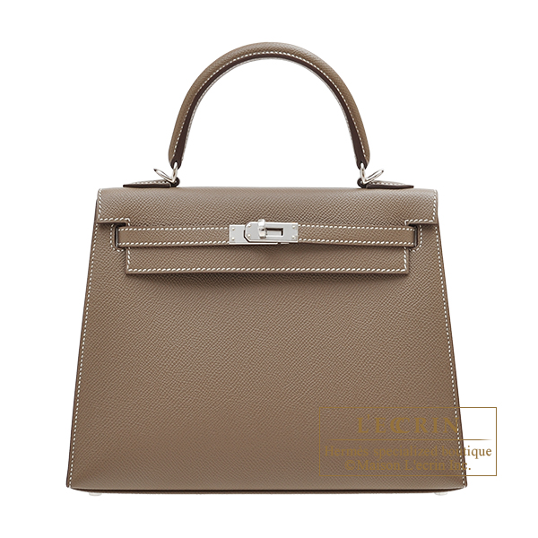 Hermes Kelly bag 25 Sellier Etoupe grey Epsom leather Silver hardware
