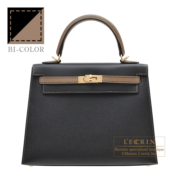 Hermes Personal Kelly bag 25 Sellier Black/ Etoupe grey Epsom leather Champagne gold hardware