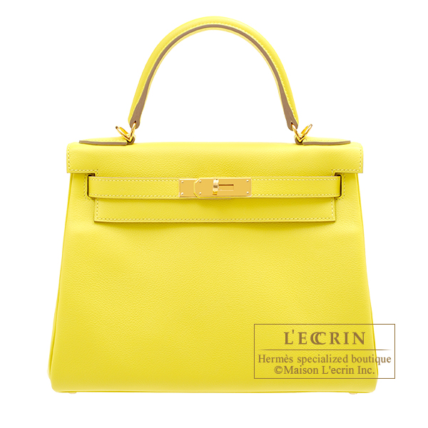 Hermes Kelly bag 28 Retourne Lime Evercolor leather Gold hardware