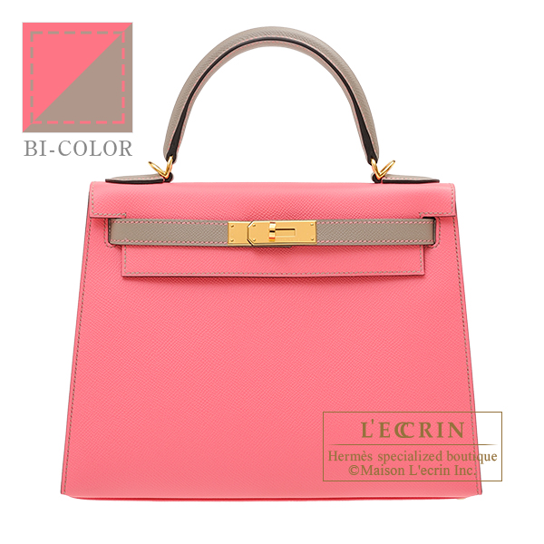 Hermes Personal Kelly bag 28 Sellier Rose azalee/ Gris asphalt Epsom leather Gold hardware
