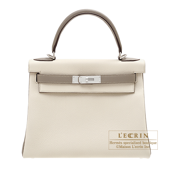 Hermes Personal Kelly bag 28 Retourne Craie/ Gris asphalt Togo leather Matt silver hardware